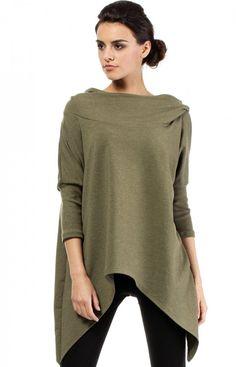 Moe MOE207 bluza khaki Świetna bluza damska, wykonana z dresowej dzianiny, długi rekaw asymetryczny fason