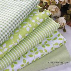 Spring Green Cotton Fabric, Light Green Plaid Stripe Leaf Solid Fabric - Fabric by Yard 1/2 yard