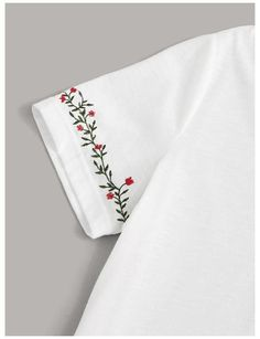 Diy Embroidery Shirt, Hand Embroidery Art, Embroidery On Clothes, Embroidery Flowers Pattern, Embroidered Clothes, Embroidery Fashion, Embroidery Stitches, Types Of Embroidery, Learn Embroidery