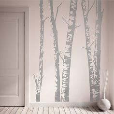 Silver Birch Trees Vinyl Wall Sticker in several variations.