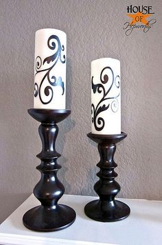 Swirls added to candles w/ Silhouette Cameo.