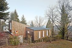Spanish architect Marc Mogas created this prefabricated cottage in the Spanish Pyrenees as a cost-effective summer retreat