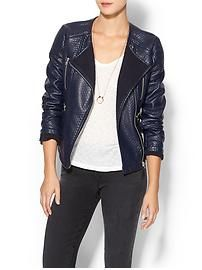 Piperlime Collection Coated Moto Sweater Jacket