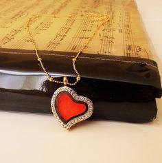 Felted heart pendant locket glassgoldenredtextile by Katrinmania