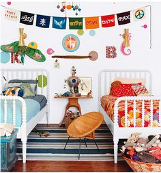 Decorating a shared boy/girl bedroom; it would be fun to do some kind of hanging banner to pull colors together