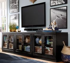 TV SPEAKERS AND PICTURE LAYOUT Reynolds Modular Long Low Media Suite #potterybarn