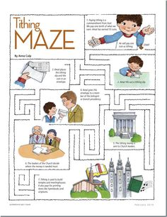 Maze activity for teaching kids about tithing.