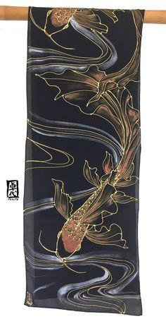 Koi Scarf Koi Fish Art Black Silk Scarf Black Red and Gold