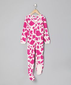 Take a look at this Pink Cow Fleece Footie - Infant, Toddler & Girls by Leveret on #zulily today!