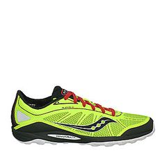 "Saucony Men's ""ProGrid Kinvara TR"" Trail Running Shoes in Citron/Black/Red"