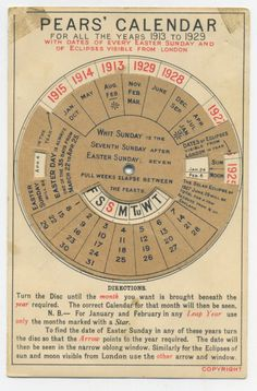 Pears' Soap Calendar Perpetual Mechanical Calendar for 1913 1929 | eBay