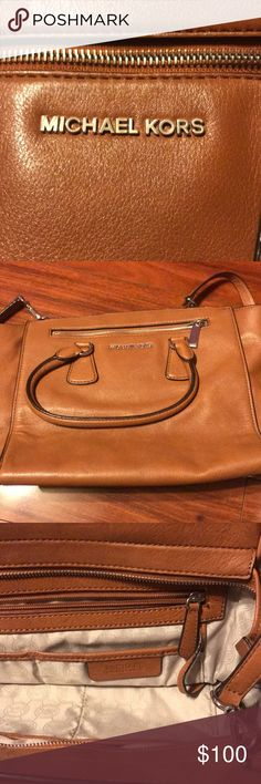 Michael Kors brown leather bag Great condition. Soft leather. Goes with everything. Can fit Mac book Michael Kors Bags Crossbody Bags