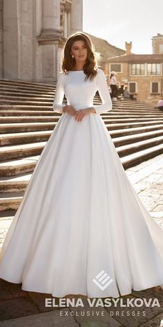 27 Awesome Simple Wedding Dresses For Cute Brides ? simple wedding dresses a line with long sleeves modest elenavasylkova ? : 27 Awesome Simple Wedding Dresses For Cute Brides ? simple wedding dresses a line with long sleeves modest elenavasylkova ? Simple Wedding Dress With Sleeves, Plain Wedding Dress, Groom Wedding Dress, Simple Wedding Gowns, Wedding Flower Girl Dresses, Wedding Dress Trends, Long Sleeve Wedding, Elegant Wedding Dress, Muslim Wedding Dresses