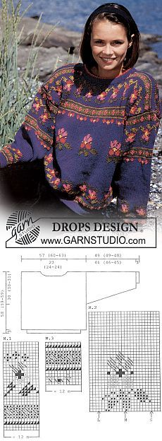 DROPS sweater in Karisma Superwash with Pansies ~ DROPS Design