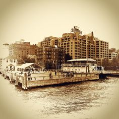 We love the vintage sepia look the Instagrammer has applied to this well-known vista, taken on a ferry just as it pulls in to dock. The relatively more modern Watchtower building contrasts with the older building stock in DUMBO, and the clusters of people are apparent enough to discern, but indistinct enough to look like they could be from any era.