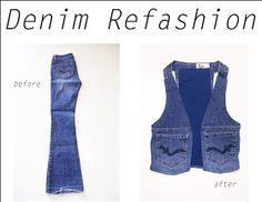 A Different Fashion: Refashion: Jeans to Denim Vest