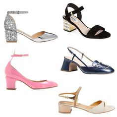 Pretty and Comfy Outdoor Wedding Shoes: ASOS Shooting Star heels, Dune London Harah jeweled block heel sandal, Coach Rivet sling, Salvatore Ferragamo ankle strap sandal, and Valentino Tango patent leather pumps.