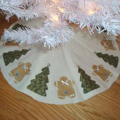 Gingerbread and Tree Mini Tree Skirt  Blue and by SweetPeasGarden, $15.00
