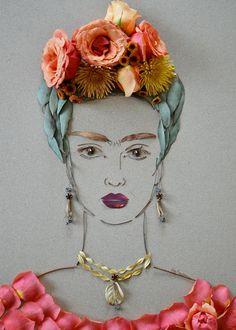 "Sister Golden ""Frida III"" Flower Face Print – Print of original flower faces by Vicki Rawlins Hi-resolution print on Fuji Chrystal Archive paper with a matte finish in paper border on 4 sides for eas Diego Rivera, Art Floral, Inspiration Art, Art Inspo, Art Du Collage, Frida Art, Illustrator, Land Art, Medium Art"