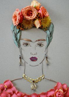 """Frida III""~Flower Face Print by Vicki Rawlins."