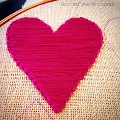 Week 4 of the : Satin Stitch — Badass Cross Stitch Embroidery Online, Diy Embroidery, Embroidery Stitches, Embroidery Designs, Needlepoint Stitches, Needlework, Valentine Heart, Valentines, Cross Stitch Tutorial