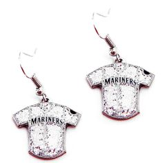 Seattle Mariners Women's Glitter Jersey Dangle Earrings