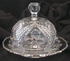 Tarentum Glass Co. Heart and Thumbprint Butter Dish