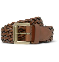 3cm Brown Woven Leather Belt Brown | 70% desligar