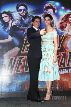 Three-times-lucky, Shah Rukh Khan and Deepika Padukone, look lovely together at launch of Sharabi song from 'Happy New Year'.