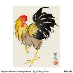 The gallery for --> Fighting Rooster Tattoo Rooster Images, Rooster Art, Vintage Japanese, Japanese Art, Rooster Tattoo, Asian Cards, Japanese Watercolor, Chicken Art, Ink Painting