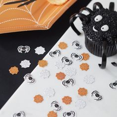 This cute confetti is perfect for a classic orange and black halloween theme! Scatter it around the party table! - Spooky Spider at GingerRay.co.uk