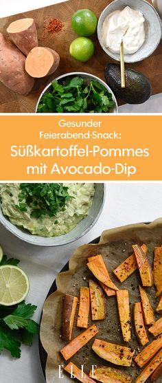 Schneller Snack und super gesund: So werden Süßkartoffel-Pommes besonders knusprig. Der passende Dip: Avocado-Joghurt! Und so wird es zubereitet... #suesskartoffel #rezepz