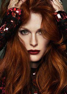 Dark smoky eye, beautiful and striking dark lipstick for dark red heads.