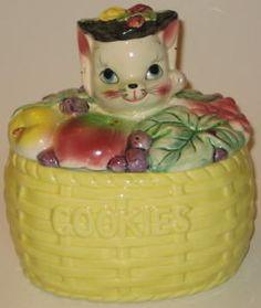 kitten in a fruit bowl cookie jar