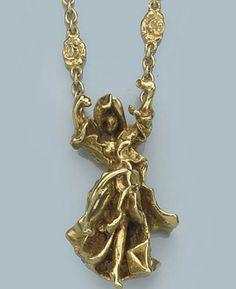 "A GOLD ""CARMEN LA CROTALOS"" PENDANT, BY SALVADOR DALI   Designed as a three dimensional female figurine depicting Carmen on a chain with rose-shaped links, 60.0 cm long  Signed Dali, circa 1983"