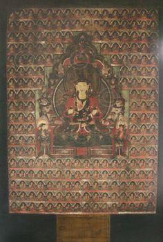 Thangka de GuanYin noire.  Huile sur toile, verre dépoli, encadrée.  18ème siècle.  Tibet.