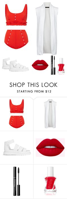 """""""CreamStrawberry"""" by katkato ❤ liked on Polyvore featuring Lisa Marie Fernandez, Jaeger, Dr. Martens and Essie"""