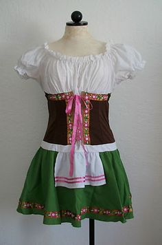 Bavarian Oktoberfest Beerfest German Beer Maid Dirndl Costume Dress- L $35