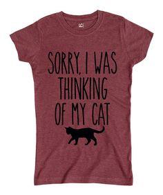 Loving this Heather Burgundy 'Thinking of My Cat' Cap Sleeve Tee on #zulily! #zulilyfinds