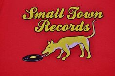 Duke student Dog T-shirt record label Small Town Records Red size Large #Agusta #GraphicTee