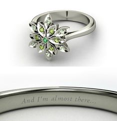 "Disney engagement inspired rings: ""Tiana"" Round Emerald Sterling Silver Ring with Green Amethyst & Green Tourmaline"
