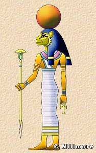 Tefnut  Tefnut was the wife of Shu and mother of Nut and Geb. She and her husband were the first gods created by Atum. She was the goddess of moisture or damp, corrosive air, and was depicted either as a lioness or as a woman with a lioness's head.