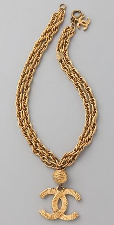 Vintage Chanel CC Gold Lined Necklace