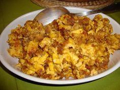 Aprenda a fazer Ovos mexidos com Farinheira de maneira fácil e económica. As melhores receitas estão aqui, entre e aprenda a cozinhar como um verdadeiro chef.