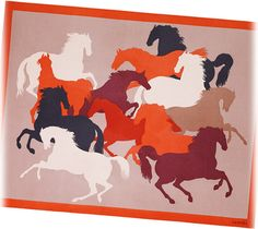 """Chevaux en Camouflage Hermes printed blanket in red and terracotta with contrasted backside. 94% cashmere and 6% silk<br />Measures 55"""" x 75"""""""