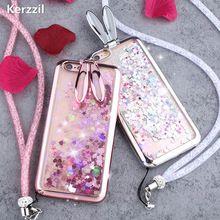 Kerzzil Brillo Dinámico Líquido caso orejas de Conejo para iPhone7 6 6 s plus conejo Encantador del soporte con Correa Funda para el iphone 7(China)