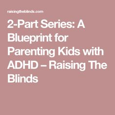 2-Part Series: A Blueprint for Parenting Kids with ADHD – Raising The Blinds