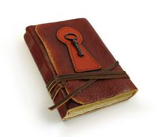 Journal with Key - Leather Journal with Old Paper and Vintage Key. $52.00, via Etsy.