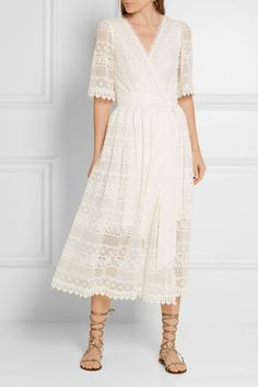 TEMPERLEY LONDON Desdemona paneled guipure lace wrap dress