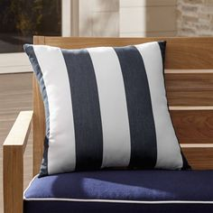 "Shop Cabana Striped 20"" Sq.  Outdoor Pillow.  Bold, beach-inspired stripes band in white and charcoal grey on this graphic outdoor pillow."